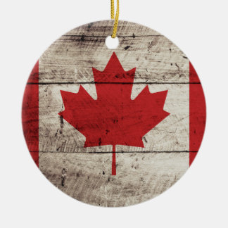 Canada Flag on Old Wood Grain Christmas Ornament