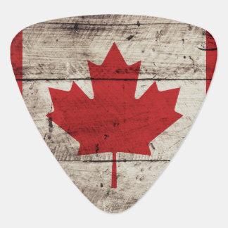 Canada Flag on Old Wood Grain Plectrum
