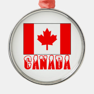 Canada Flag Snow Capped Word Christmas Ornament