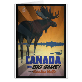 Canada for Big Game Vintage Travel Poster Card