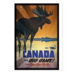 Canada for Big Game Vintage Travel Poster Postcard