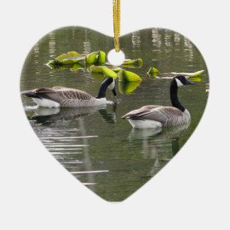 Canada Geese Ceramic Heart Decoration