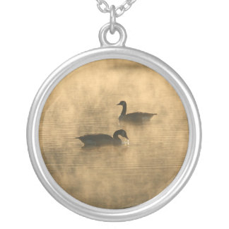 canada geese on the river by sunrise silver plated necklace