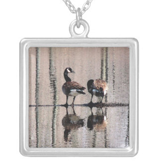 Canada Geese Silver Plated Necklace