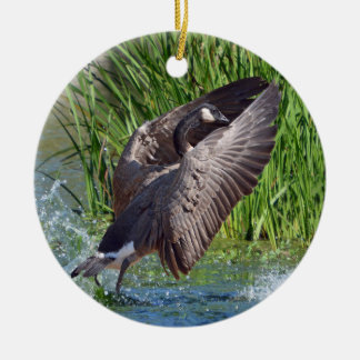 Canada Goose Coming in for a Landing Christmas Ornament