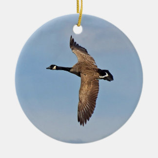 Canada Goose in Flight Double-Sided Ceramic Round Christmas Ornament