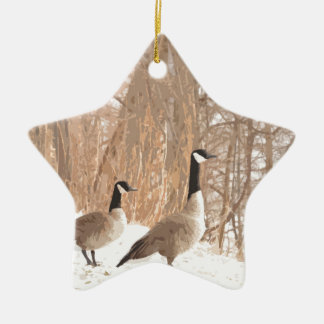 Canada Goose in Snowy Woods Ceramic Star Decoration