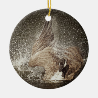 Canada Goose Slapping Water Photographic Art Christmas Ornament