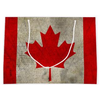 Canada GRUNGE VINTAGE Flag Large Gift Bag