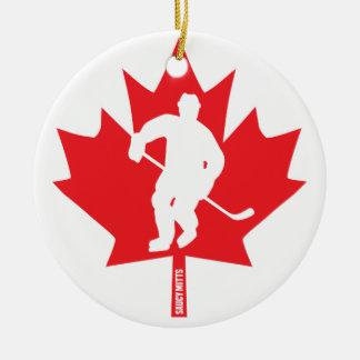 Canada Hockey Maple Leaf Player Christmas Ornament