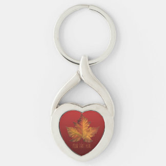 Canada Key Chains Custom Gold Maple Leaf Gifts Silver-Colored Twisted Heart Key Ring