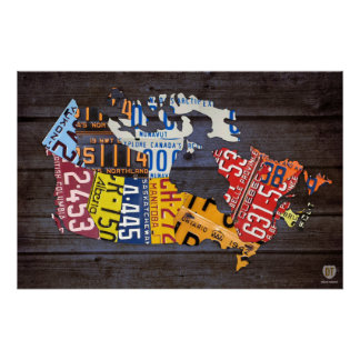 Canada License Plate Map Recycled Art Print