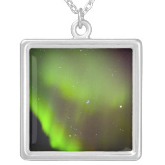 Canada, Manitoba, Churchill. Aurora Borealis in Silver Plated Necklace