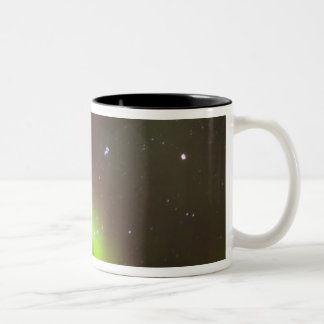 Canada, Manitoba, Churchill. Aurora Borealis Two-Tone Coffee Mug