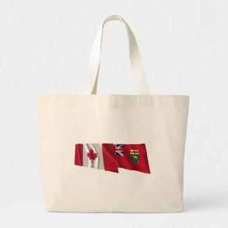 Canada & Manitoba Waving Flags Canvas Bag