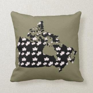 Canada Map Maple  fun taupe black white pillow