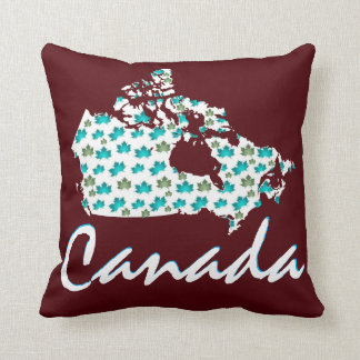 Canada Map Maple  fun  taupe pillow burgundy