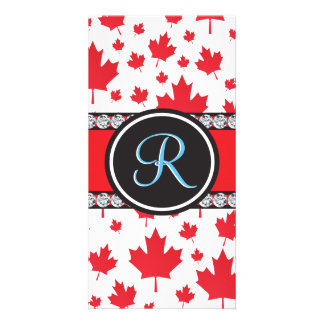 Canada Maple Leaf Abstract Diamond Monogram Picture Card