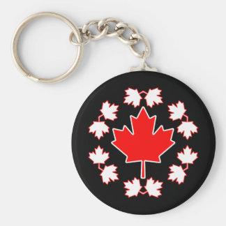 Canada Maple Leaf Circle Design Key Ring