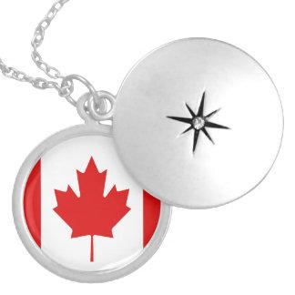 Canada Maple Leaf flag Canadian Round Locket Necklace