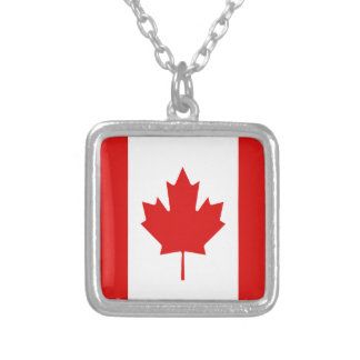 Canada Maple Leaf flag Canadian Square Pendant Necklace