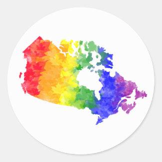 Canada Maple Leaf Rainbow Pride Classic Round Sticker