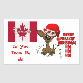 Canada Merry Freakin' Christmas  HO!HO!HO! eh! Rectangular Sticker