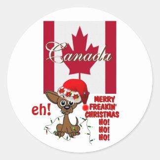 Canada Merry Freakin' Christmas  HO!HO!HO! eh! Round Stickers