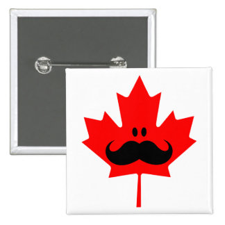 Canada Mustache - A mustache on red maple 15 Cm Square Badge