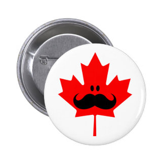 Canada Mustache - A mustache on red maple 6 Cm Round Badge