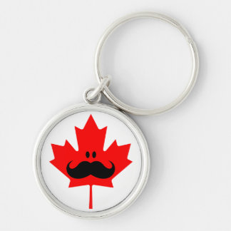Canada Mustache - A mustache on red maple Silver-Colored Round Key Ring