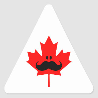 Canada Mustache - A mustache on red maple Triangle Sticker