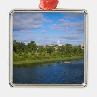 Canada, New Brunswick, Fredericton, City view Silver-Colored Square Decoration