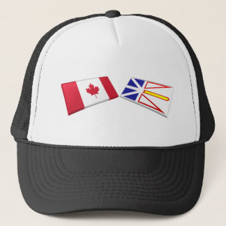 Canada & Newfoundland Flag Tiles Trucker Hat