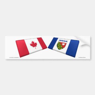 Canada & Northwest Territories Flag TIles Car Bumper Sticker