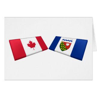 Canada & Northwest Territories Flag TIles Greeting Card