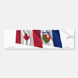 Canada & Northwest Territories Waving Flags Car Bumper Sticker