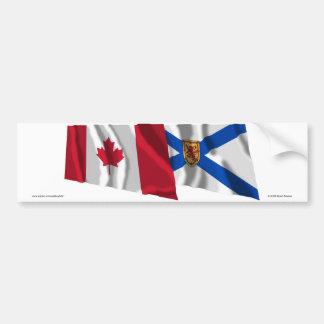 Canada & Nova Scotia Waving Flags Bumper Sticker
