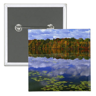 Canada, Ontario. Autumn color reflects in Park 15 Cm Square Badge
