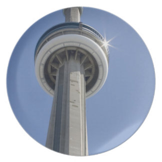 Canada, Ontario, Toronto. Top of CN Tower with Plate