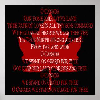 Canada Poster Canada Anthem Souvenir Print