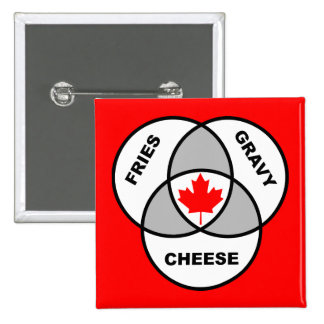 Canada Poutine Venn Diagram Funny Button Badge Pin