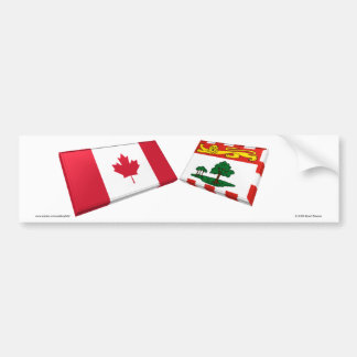 Canada & Prince Edward Island Flag Tiles Car Bumper Sticker