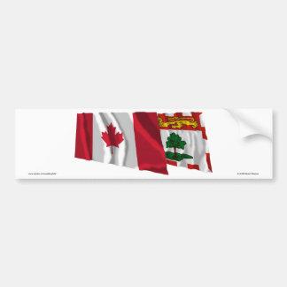Canada & Prince Edward Island Waving Flags Car Bumper Sticker