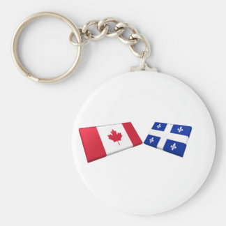 Canada & Quebec Flag Tiles Basic Round Button Key Ring