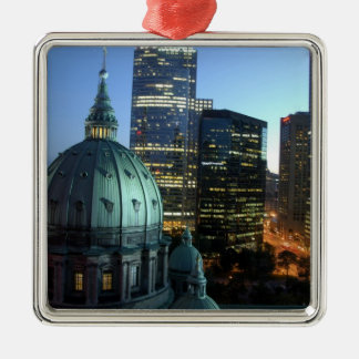 Canada, Quebec, Montreal. Downtown Montreal, Silver-Colored Square Decoration