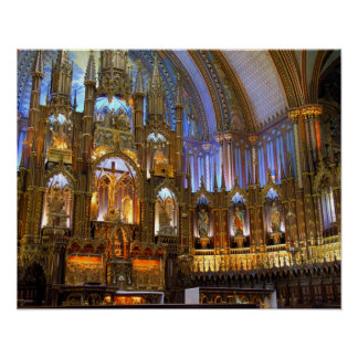 Canada,  Quebec,  Montreal. Interior of Notre Poster