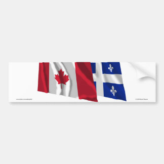 Canada & Quebec Waving Flags Bumper Sticker