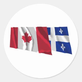 Canada & Quebec Waving Flags Classic Round Sticker