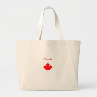 Canada Red Maple Leaf Bold Text Logo Jumbo Tote Bag